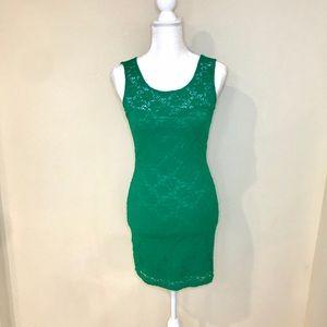 Green Lace Mini Dress!